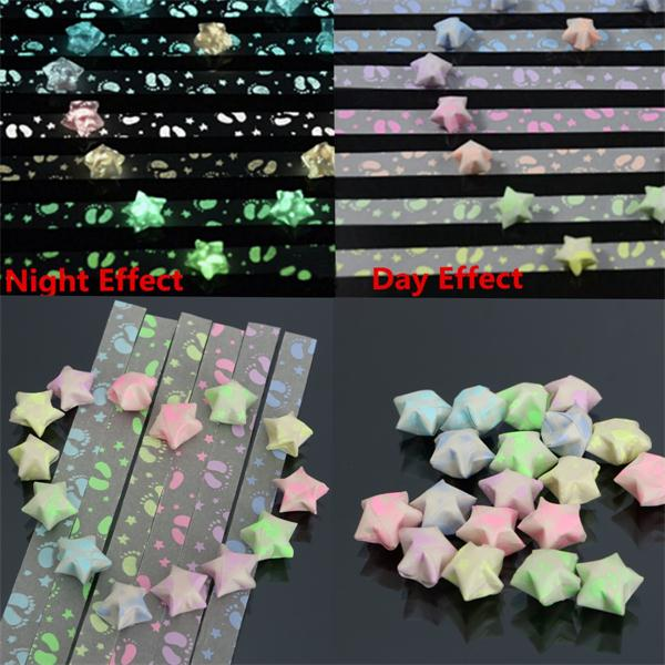 1 Pack 30 Strips Footprint Folding Children Lucky Wish Stars Origami Paper Ribbon Kit