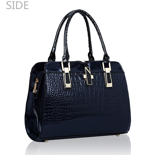 Women Crocodile Pattern Handbags Patent Leather Tote Shoulder Bags Crossbody Bags