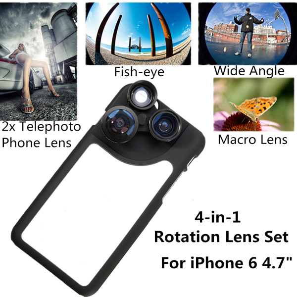 4in1 Plastic Phone Camera Lens Dial Case For iPhone 6 4.7 Inch