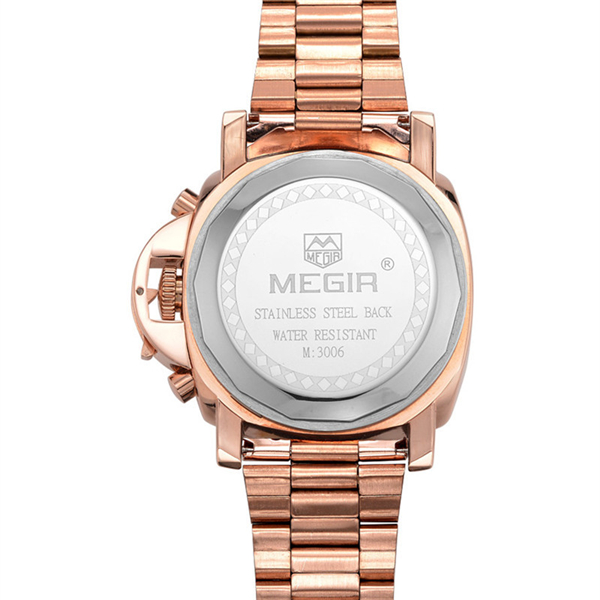 MEGIR 3106G Chronograph 6 Hands 24 Hours Stainless Steel Quartz Watch
