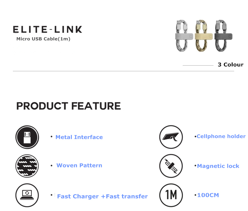 MOMAX Elite Link 2A 1M Nylon Weaving Micro USB Charging Data Cable For Cell Phone