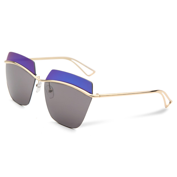 2015 UV400 Women Sunglasses Rimless Golden Frame Metal Mercury Square Glasses