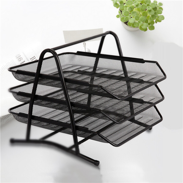 3 Tier Office Barbed Wire File Tray Mesh Desk Tray Organizer Shelf Letter Storage