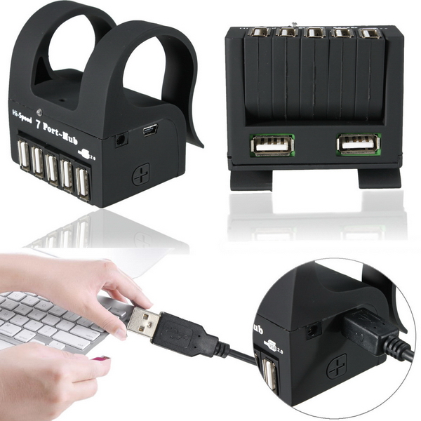 High Speed 7 Ports USB 2.0 External Hub Adapter for PC Laptop Notebook