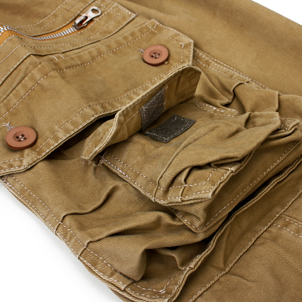 Mens Casual Cargo Pants Solid Color Stylish Pockets Decorated Long Pants