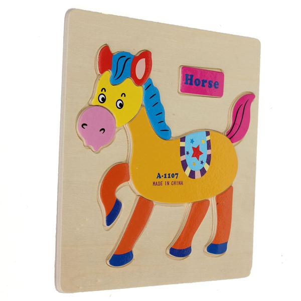 Wooden Cartoon Horse Animal Design Puzzle Building Block Game Toy Jigsaw Baby Gift