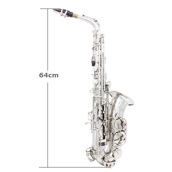 LADE Alto Eb Silver Saxophone Sax Paint Silver With Case with Accessories