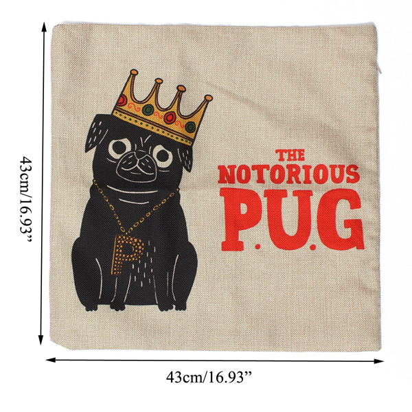 Hat Crown Cartoon Dog Cotton Linen Pillow Cases Waist Sofa Cushion Cover