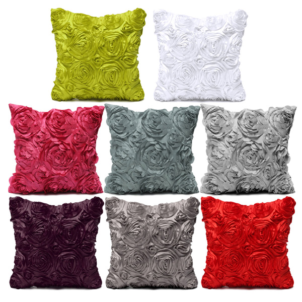 Satin 3D Rose Flower Square Pillow Cases Home Sofa Wedd