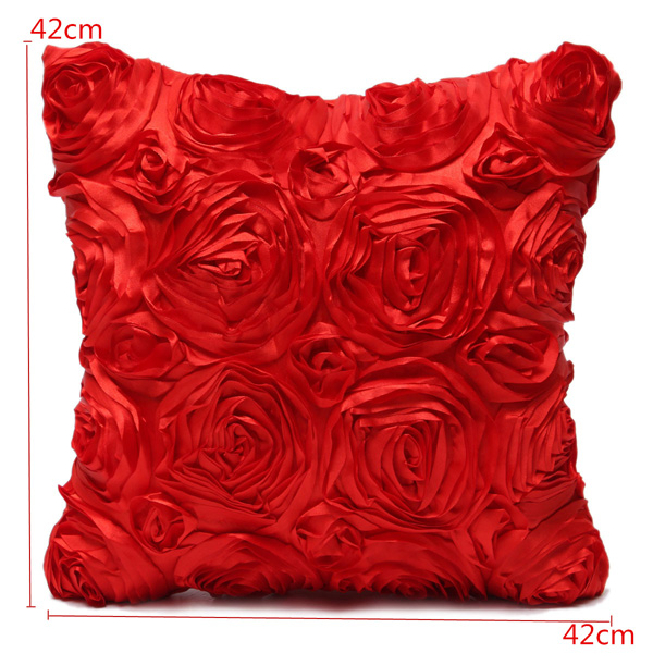 Satin 3D Rose Flower Square Pillow Cases Home Sofa Wedding Decor Cushion Cover