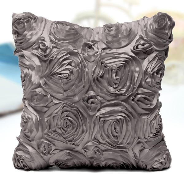 Satin 3D Rose Flower Square Pillow Cases Home Sofa Wedding Decor Cushion Cover