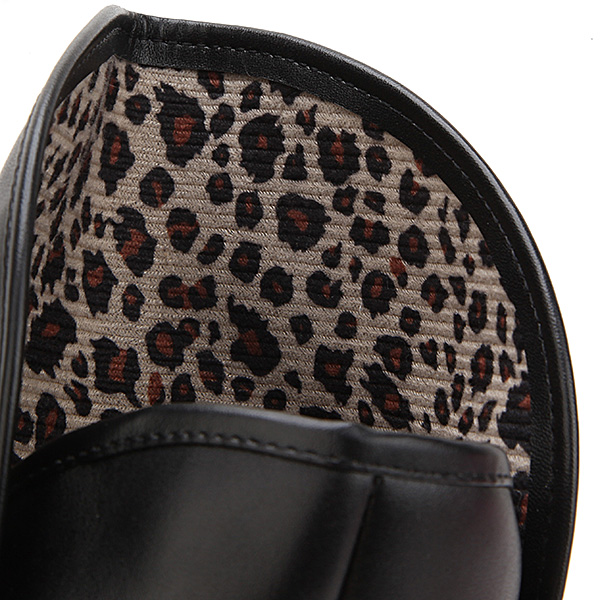 New Women Wedge Round Toe Leopard Leather Mid-Calf Boots