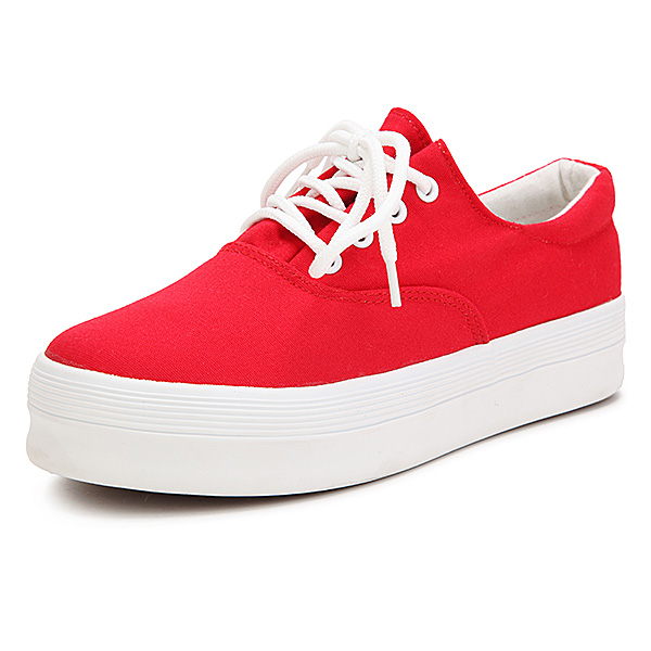 New Low Platform Women Casual Flat Heel Sneakers Lace Up Sport Canvas Shoes