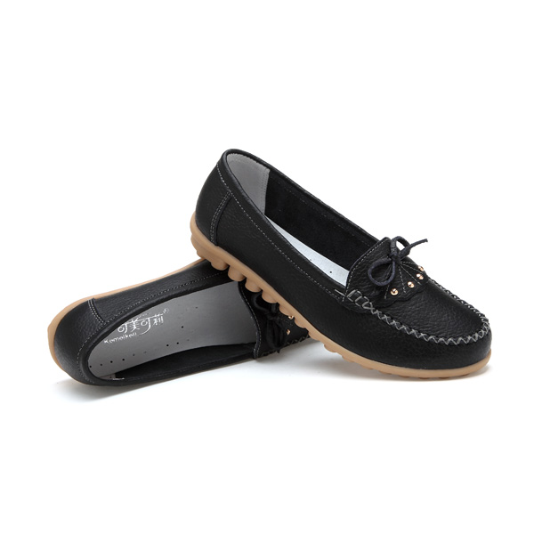 Women Casual Leather Shoes Colors Round Toe Flats Slip On Leather Loafers