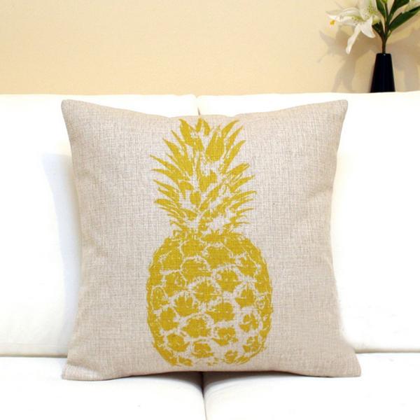 Mixed-color Pineapple Cotton Linen Pillow Case Home Sofa Cushion Cover