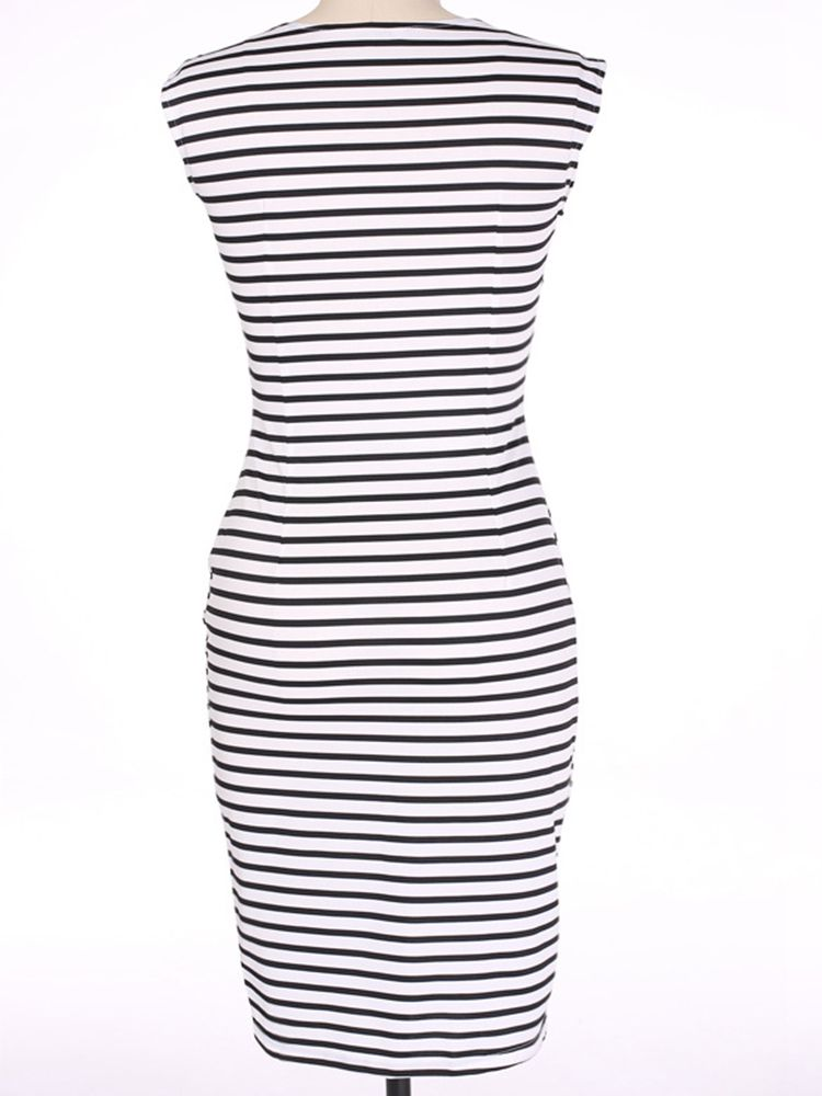 Elegant Women Sleeveless Striped O-Neck Slim Pencil Dresses