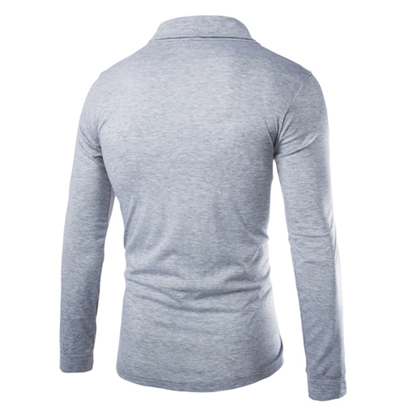 Men Fall Autumn Cotton Polyester Small Lapel Long-sleeved Solid T-shirt