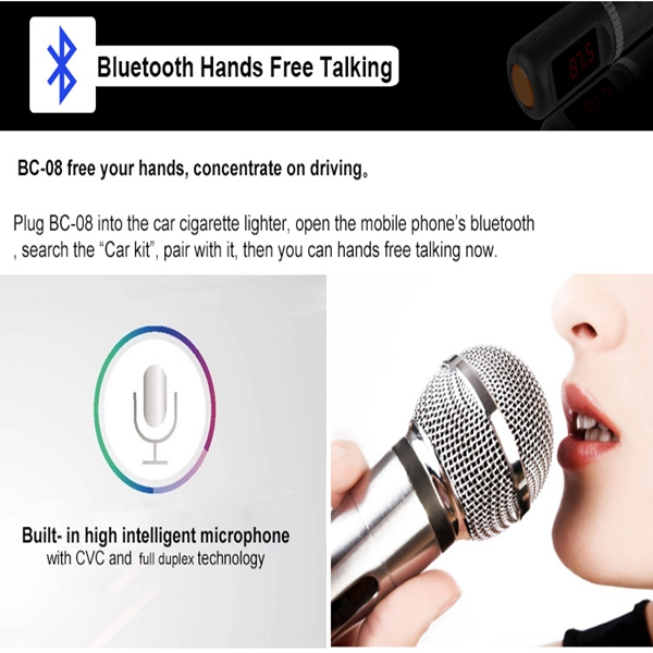 BC08 FM Transimittervs bluetooth Player Car Kit Dual Usb Charger Hands Free MP3