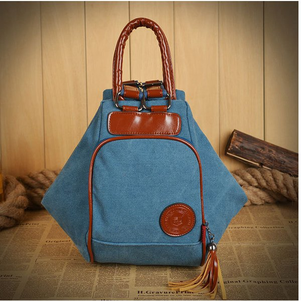 Women Men Canvas Tassel Backpack Casual Diagonal Handbags Multifunctional Shoulderbags