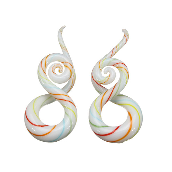 5mm-12mm 1 Pair Twist Pyrex Glass Ear Gauges Taper Plugs Stretcher Expander