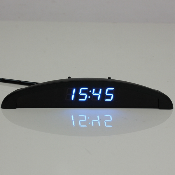 LED Digital Auto Clock Voltmeter Thermometer 12V 3 In 1 Function
