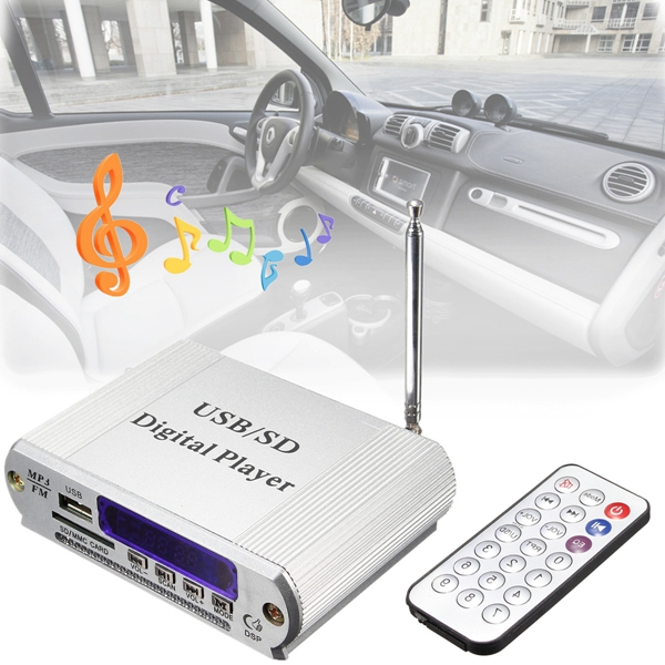 Mini Digital Player FM Radio Remote Control LED Display MP3 USB SD Headphone Out Car Amplifier