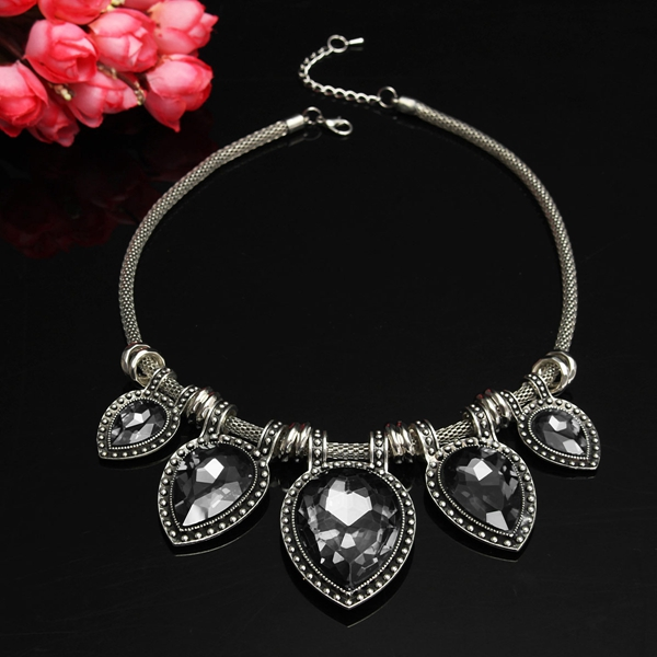 Charm Waterdrop Teardrop Crystal Bib Statement Necklace For Women