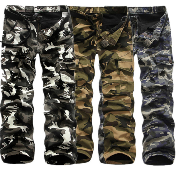 0dc353b9f58 Winter Thick Fashion Cotton Warm Mens Cargo Pants Outdoor Casual Camouflage  Pocket Overalls COD