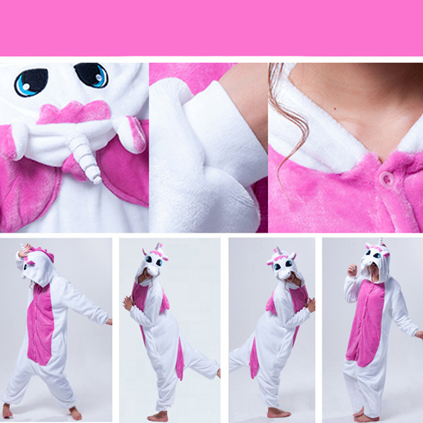Warm Flannel Animal Cartoon Jumpsuits Pajamas Sleepwear