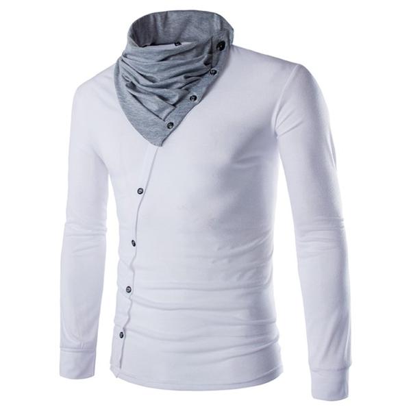 Men Fall Cotton Blended O-neck Decorative Oblique Buttons Long Sleeve T-Shirt