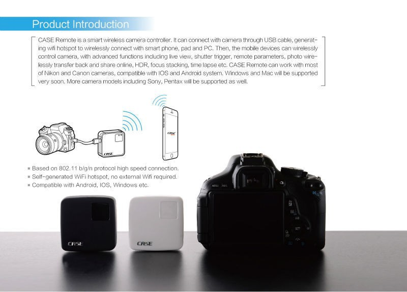 CASE Remote Smart Wifi Camera Wireless Controller For Canon Nikon DSLR iPad iPhone Android Smartphone