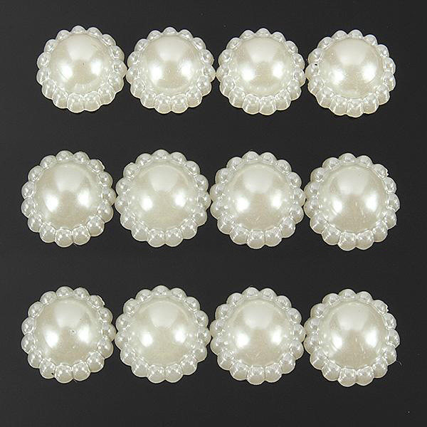 50Pcs 11mm Ivory Flat Back Half Round Pearl Flower Beads Craft Decoration