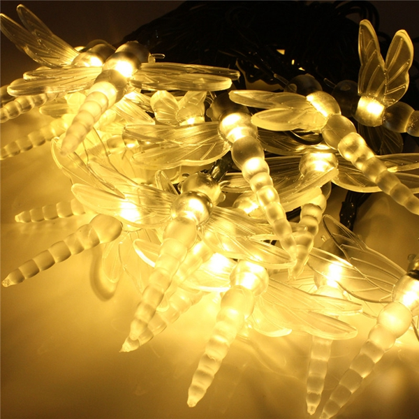 4.8M 20 LED Solar Colorful Dragonfly Fairy Light String Outdoor Xmas Party Garden Path Decor