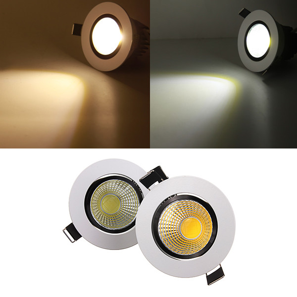 5W Dimmable COB LED Recessed Ceiling Light Fixture Down Light 220V