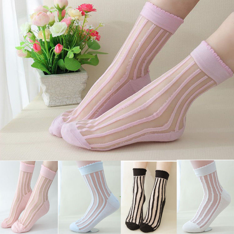 Women Ankle Low Cut Yarn Transparent Socks Crystal Striped Floral Short Pantyhose