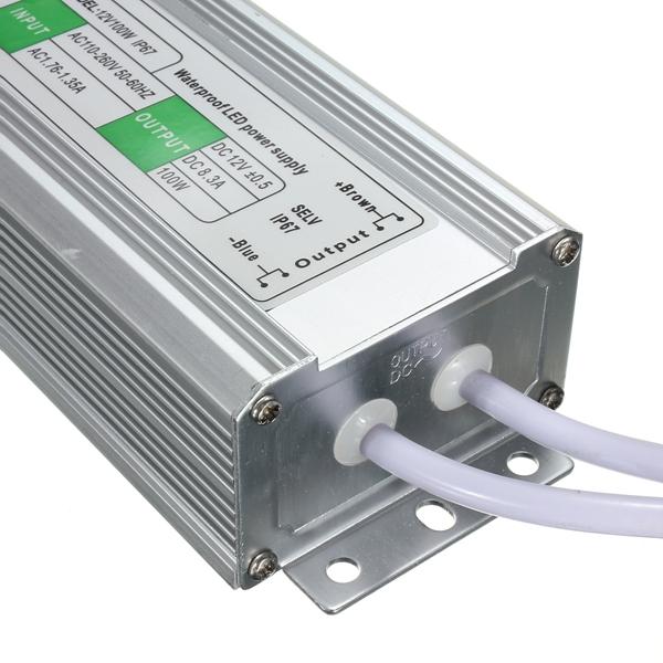 100W Waterproof IP67 LED Transformer Power Supply Driver AC110V-260V To DC12V