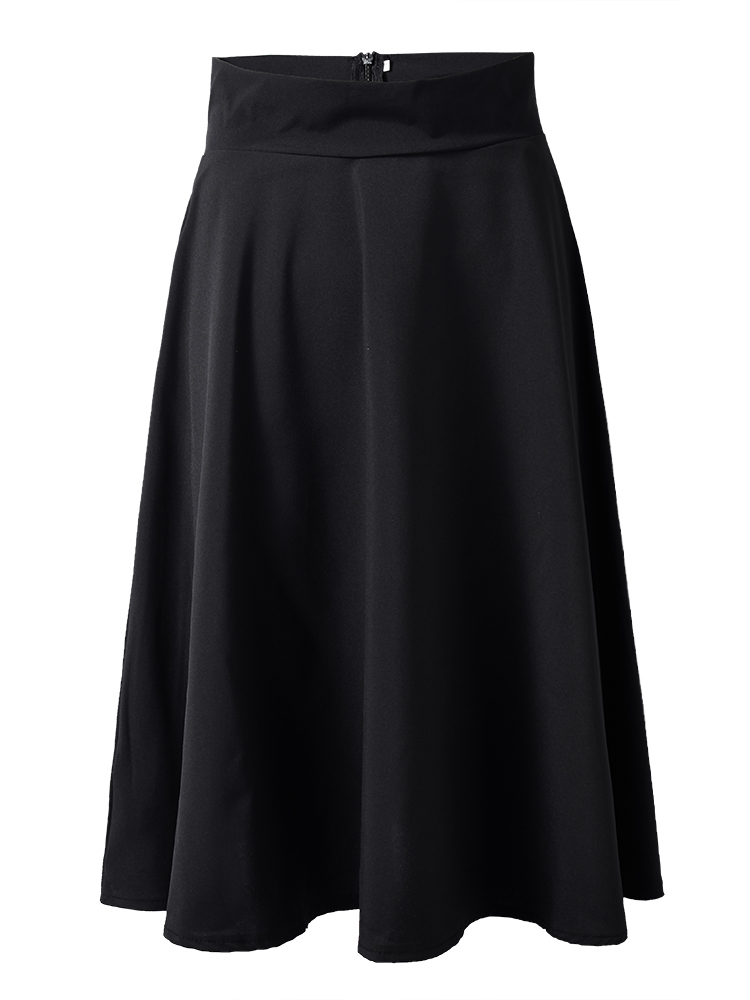Women High Waist Pleated Pure Color Elegant Skirt