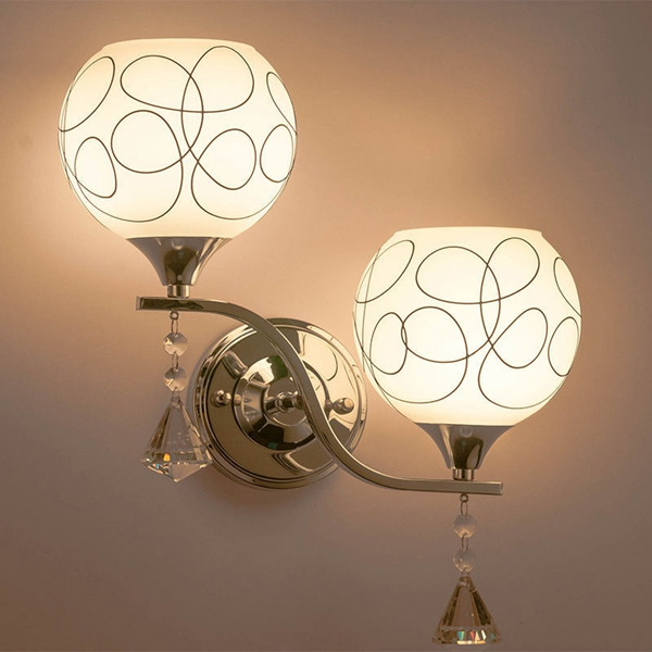 New Modern E27 Crystal Double Heads Wall Light For Living Room Bedroom Bedside Lobby