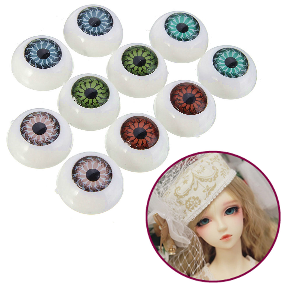 2pcs Vintage Plastic Half Round Eye Eyeball FIT MASK Skull Halloween 15MM