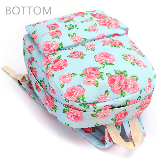 Women Canvas Floral Backpack Students Printed School Bags Casual Satchel Rucksack