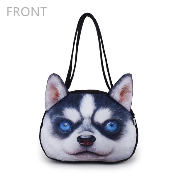 Women Cute Dog Head Shoulder Bags Casual 3D Animal Print Handbags Shopping Bags