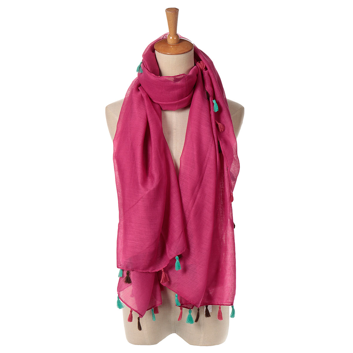 Women Ladies Bohemian Style Pure Color Tassel Shawl Scaves Wrap Voile Scarf