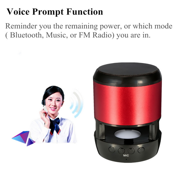 Micro Suction Holder LED bluetooth Wireless Stereo Speaker FM Radio Supports USB Disk Micro SD Card