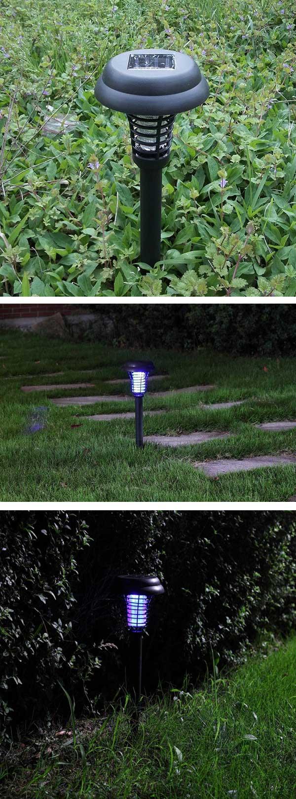 Garden Solar Power LED Mosquito Killer Lamp Yard Plastic Waterproof Lawn Light