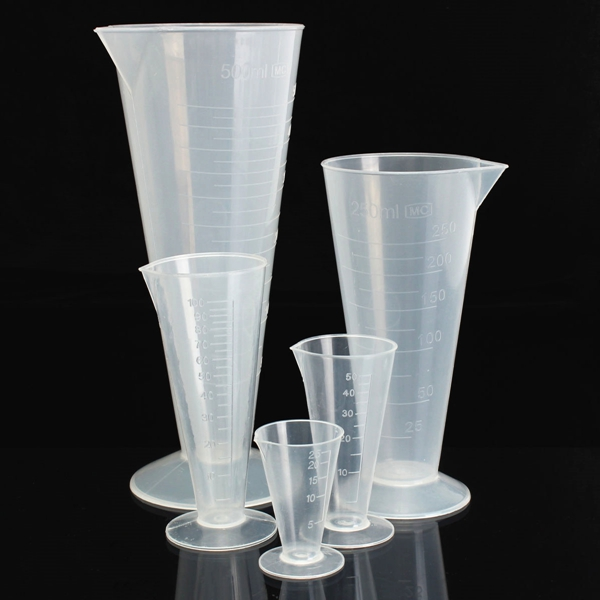 25ml To 500mL Plastic Graduated Measuring Cylinder Tube With Round Base And Spout