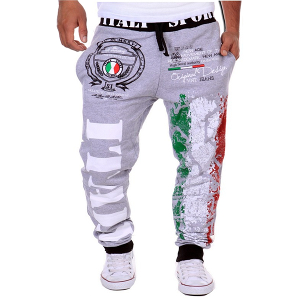 Men Fall Cotton Blend Italian Flag Print Casual Loose Sports Jogger Pants Sweatpants