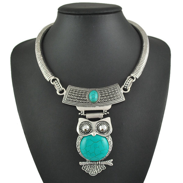 Tibetan Turquoise Owl Pendant Statement Choker Necklace For Women
