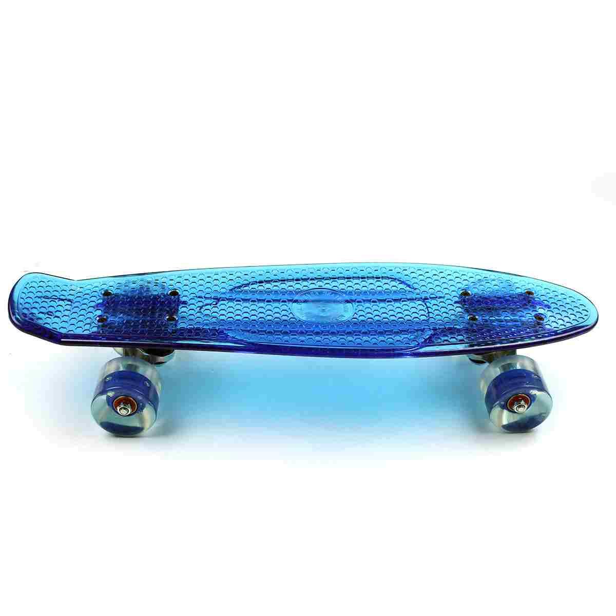 Eprocool Plastic Skateboard Transparent Blue Board PU Wheels Cruiser Flying Fish Skateboard