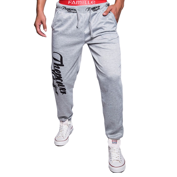 Men Fall Cotton Polyester Letters Printed Casual Sweatpants GYM Sports Pants