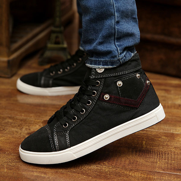 New Autumn Men Canvas High Top Sneakers Breathable Causal Flat Sports Shoes